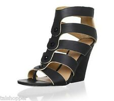 L.A.M.B. by Gwen Stefani Caged Leather Miranda Sandals Wedges Heels NEW 7 $265