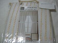New Victoria Classics Anders Window Panels Set 5 Pc Ivory and Gold 55x84 Nip