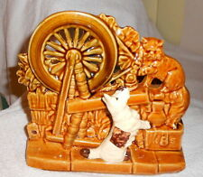 Vintage 1950's McCoy Pottery  SPINNING WHEEL Planter with a Dog and Cat