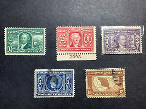 US Stamp SCOTT #323-327-SET LOUISIANA PURCHASE 323,325 MNH..324 MH, 326,327 Used