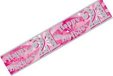 3M Long Extra Wide Happy 21st Birthday Holographic Pink & Silver Foil Banner New