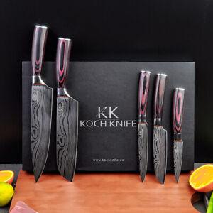 5tlg Messer Set im Damascus Style KOCHKNIFE© Küchenmesser Damastmesser Luxor Top