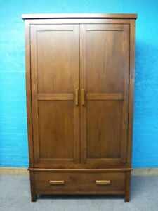 DOVETAILED CHUNKY SOLID BROWN WOOD =2DOOR 1DRAWER WARDROBE H193 W110cm -see shop