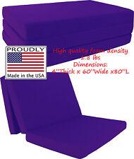 """Queen Size Purple Trifold Floor Foam Beds 4""""x60""""x80"""" Foldable foam Ottoman Bed"""