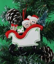PERSONALISED CHRISTMAS TREE DECORATION ORNAMENT SLEIGH FAMILY WITH GIFT PRESENTS