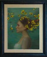 Hand-painted Original Oil painting art Impressionism Flower girl on Canvas 24x36