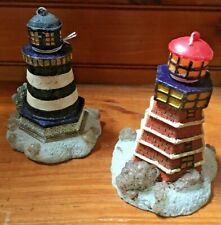 Two Nautical Lighthouse Wax Candles, Red And Other Is Blue & White Stripe 6�