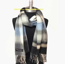 New 100%CASHMERE SCARF MADE IN SCOTLAND Plaid Gray/blue/black SUPER SOFT UNISEX