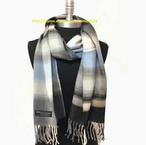 New 100%CASHMERE SCARF MADE IN SCOTLAND Plaid Gray/blue/black SOFT UNISEX #N01
