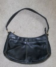 Liz Claiborne Handbag Purse Shoulder Bag Tote Pebble Grain  Black Leather