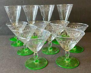 12 Libbey Needle Etched Uranium Green Depression Glass Goblet Sherbet Stemware