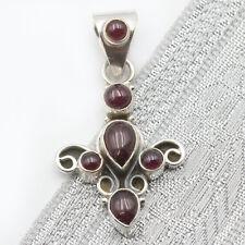 Anhänger Granat Silber 925 Kettenanhänger 6 Edelsteine Cabochon Rot Diana