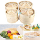 """7"""" 8.7"""" 9"""" 10"""" Bamboo Steamer Dim Sum Meat Basket Home Rice Cooker Set 2 Tiers"""