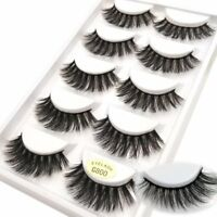 5PAIRS 3D Mink False Eyelashes Wispy Cross Long Thick Soft Fake Eye Lashes UK BW
