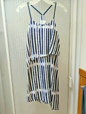 HD Paris Flowing Airy Silk Dress Navy White Orchid Size 0P (Fits size 5)
