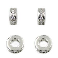 Zircon Micro Pave Rondelle 3x7mm Connector Charm Spacer Beads Bracelet Gemstones