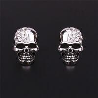 Women Ladies Rhinestone Crystal Diamond Skull Pierced Punk Ear Stud Earrings TOC