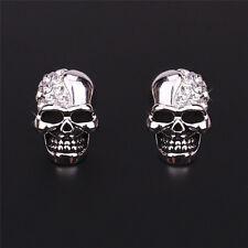 Women Lady Gold/Silver Tone Crystal Diamond Skull Pierced Stud Earring Jewelr PD