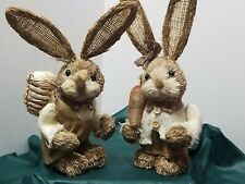 "Set Of 2 Vintage Rustic Bunny Rabbit Figurines Natural Straw 11"" & 12"" Easter"
