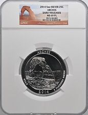 2014 5oz Silver 25C Arches Early Releases NGC MS 69PL