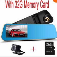 Dash Cam Rear View Camera HD Mirror Dual DVR G-Sensor Bundle With 32GB SD Card