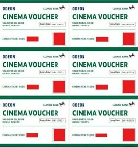 6 x ODEON Cinema Tickets valid for 2d, 3d and iSense - Expiry: 09/10/2022