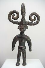 Antique EKOI SKIN COVERED STANDING MALE FIGURE 4 socketed coiled braids, 61cm