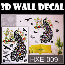 3D Peacock Wall Sticker decals Home Decor Decoration Wallpaper Room Art