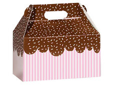 """6ct. Pink """"CHOCOLATE SPRINKLES"""" Gable Gift Boxes Tote Containers 9-1/2""""x 5""""x5"""""""