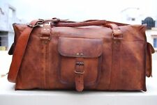 "Men's Brown Genuine Goat Leather 25"" Travel Luggage Duffle Gym Overnight Bag New"
