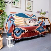 Geometric Rhombus Throw Blanket Sofa Cover Dust Cover Non-slip Retro Blanket Bed