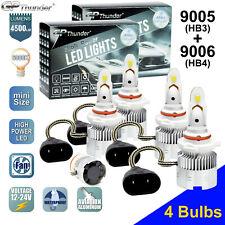 9005+9006 4-bulbs Combo 18000LM CREE LED Headlight Kit High Low Beam Light Bulbs