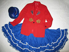 CIRCUS ringmaster red jacket COSTUME size 10 cosplay fantasy hat  Mardi Gras