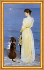 Summer evening at Oil on canvas Kroyer Strand Frau Abend Mond Hund B A3 03055