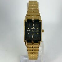Mema Womens 1724L 22K Gold Electroplated Stainless Steel Square Quartz Watch
