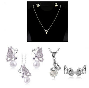 Austrian Crystal & Pearl Butterfly Necklace Pendant and Stud Earrings Set