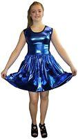 METALLIC SHINY PVC BLUE GREASE WETLOOK ROCKABILLY SWING SLEEVELESS DRESS RAVE