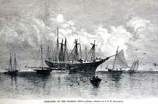 Florida Keys 1878 WRECKERS SHIPS SAIL BOATS Matted Antique Engraving Print