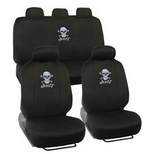 Black Skull Car Seat Covers Full Set - Front & Rear Bench Seats Universal Fit