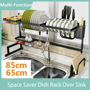 85/80cm Stainless Steel Dish Rack Drying Organizer Kitchen Draining Over Sink