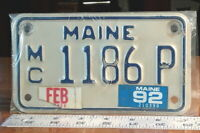 MOTORCYCLE LICENSE PLATE - MAINE - 1992 private series, nice one