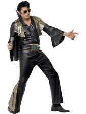 ELVIS PRESLEY BLACK & GOLD COSTUME ROCK AND ROLL 50S MENS 60S 70S ADULT FANCY