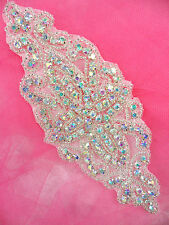 "DH8 Applique Aurora Borealis Crystal AB Glass Rhinestone Silver Beaded 6"" WOW!!"