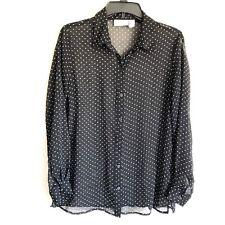 Chicos Sz M 1 Button Down Shirt Black White Polka Dot Sheer Long Sleeve