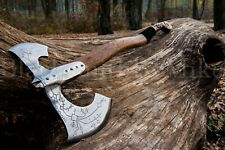 Kratos battle axe, Leviathan felling hatchet, carbon steel tomahawk, LARP weapon