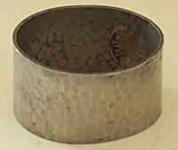 Hammered pewter vintage Arts & Crafts antique napkin serviette ring