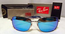 RAY BAN RECTANGULAR SUNGASSES RB 3515 004/9R POLARIZED BLUE FLASH LENS GUNMETAL