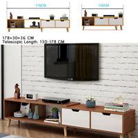 Modern Telescopic TV Stand Storage Cabinet Furniture Home Shelf 2 Drawers 70inch