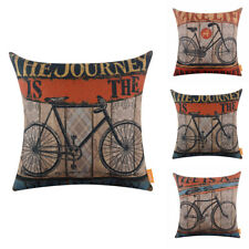 """Vintage Bicycle Cushion Cover Bike Pillow Case Sports Exercise Love Man Cave 18"""""""