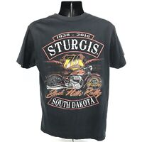 Sturgis 76 Anniversary 2016 Shirt Mens Size M Medium Faded Black Short Sleeve